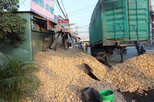 Xe container lật, hàng chục tấn khoai mì tràn kín lối vào 3 căn nhà