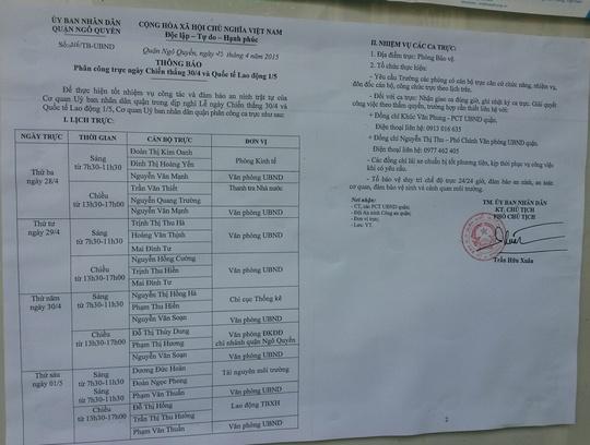 Phân công lịch trực lễ chỉ có duy nhất 1 Phó chủ tịch UBND quận