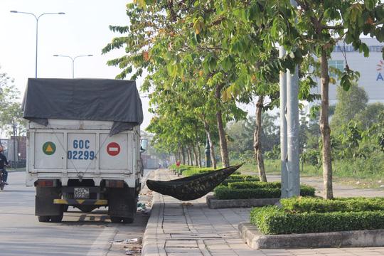 Các tài xế mệt mỏi, bỏ vô lăng tranh thủ mắc võng bên lề đường để chợp mắt, chờ hết kẹt xe