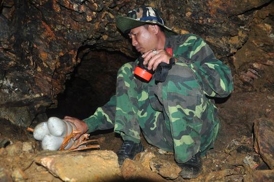 Lực lượng công binh dùng thuốc nổ phá sập các hầm vàng.