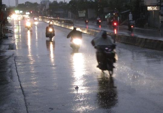 Ai cũng vội vã lưu thông vì cơn mưa rào bất chợt