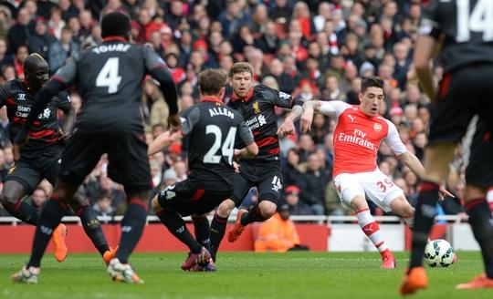 Bellerin trong pha mở tỉ số cho Arsenal