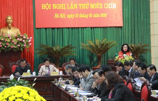 Bà Ngô Thị Thanh Hằng, một trong hai Phó Bí thư Thành ủy Hà Nội mới, phát biểu. Ảnh: Hà Nội mới