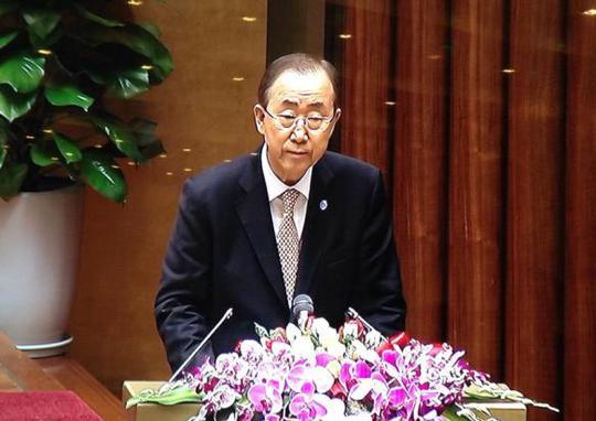 Tổng thư ký LHQ nói chuyện trước Quốc hội Việt Nam - Ảnh chụp qua màn hình