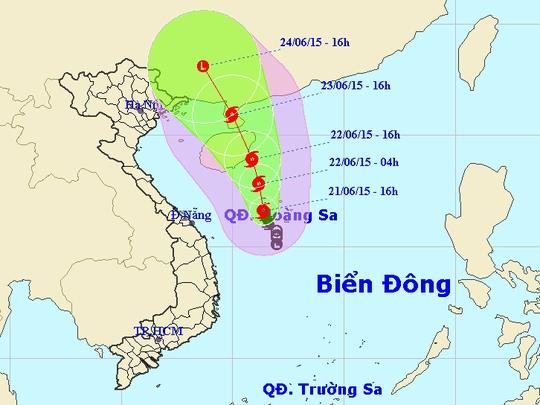 Vị trí và dự báo đường đi của bão số 1. Nguồn: Trung tâm Dự báo khí tượng thủy văn Trung ương