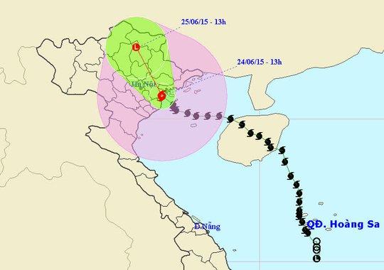 Vị trí và dự báo đường đi của bão số 1. Nguồn: Trung tâm dự báo KTTV Trung ương.