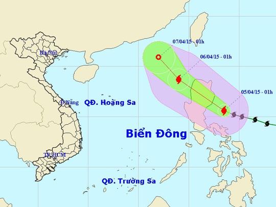 Vị trí và hướng di chuyển của bão Maysak - Nguồn: Trung tâm Dự báo khí tượng thủy văn trung ương