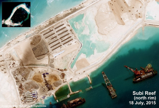 Việc nạo vét, bơm hút cát cho đá Subi cơ bản đã xong. Ảnh: Digital Globe
