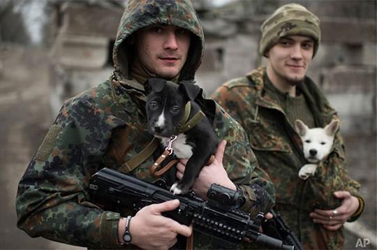 Các binh sĩ thuộc quân đội Ukraine một tay cầm súng, một tay ủ ấm những chú chó .Hình ảnh ấm áp hiếm hoi trong cuộc chiến được chụp ở Mariupol hôm 28-1. Ảnh: AP