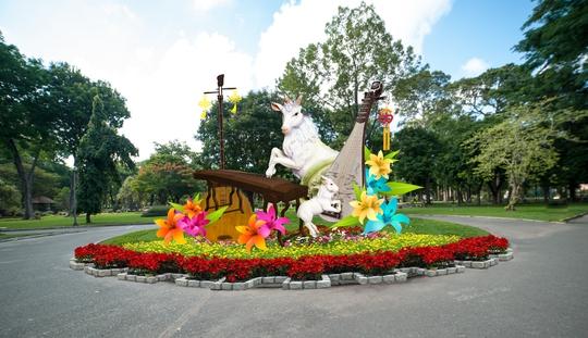 Phối cảnh bồn hoa trong công viên Tao Đàn