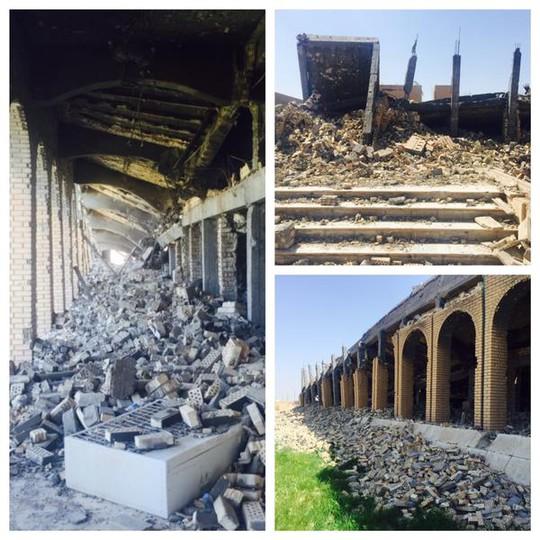 Ngôi mộ xa hoa của Saddam Hussein trở nên hoang tàn. Ảnh: Twitter