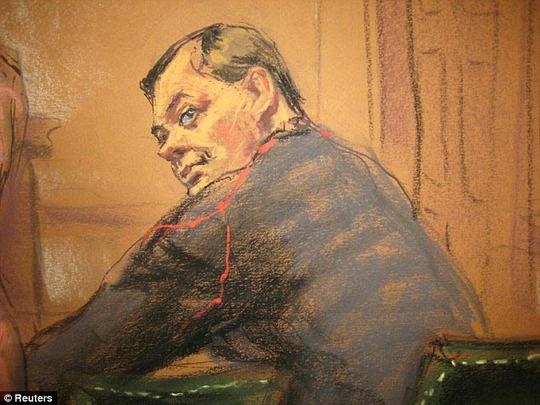 Bức phác thảo chân dung Evgeny Buryakov tại tòa án ở Manhattan, New York - Mỹ  Ảnh: REUTERS