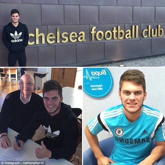 Nathan cho đăng trên Instagram cá nhân hình ảnh k1y hợp đồng với Chelsea
