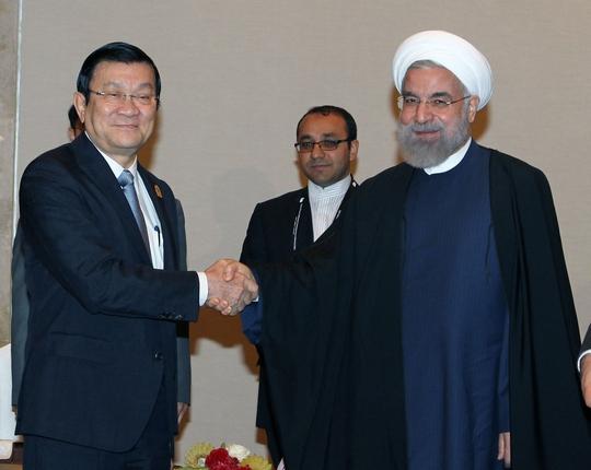 Chủ tịch nước Trương Tấn Sang hội kiến với Tổng thống Iran Hassan Rouhani Ảnh: TTXVN