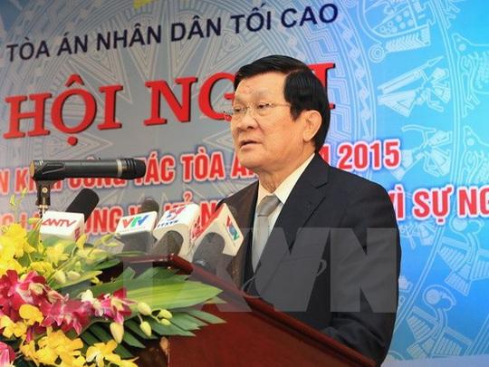 Chủ tịch nước Trương Tấn Sang: Thẩm phán, Hội thẩm xét xử độc lập và chỉ tuân theo pháp luật - Ảnh: TTXVN