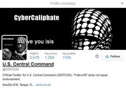 """Tài khoản Twitter của Centcom còn đăng tải hình ảnh một nhân vật trong chiếc mũ trùm đầu màu đen-trắng cùng dòng chữ: """"Tôi yêu IS"""". Ảnh: Reuters"""