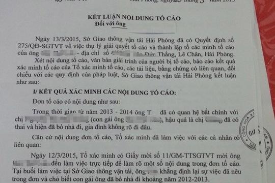 Bản kết luận về đơn tố cáo Phó giám đốc Sở GTVT Hải Phòng quan hệ bất chính