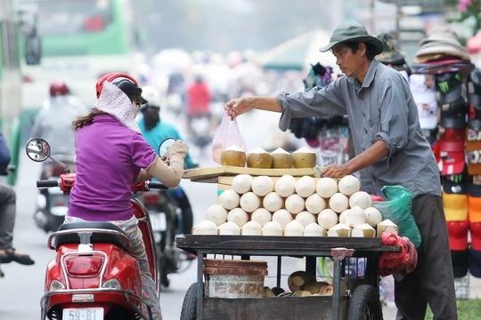 An Thanh một người bán dừa lưu động trên đường Xô Viết Nghệ Tĩnh cho biết, một ngày anh bán bình quân 60-70 trái, hôm nào nắng nóng bán cũng được hơn trăm trái.