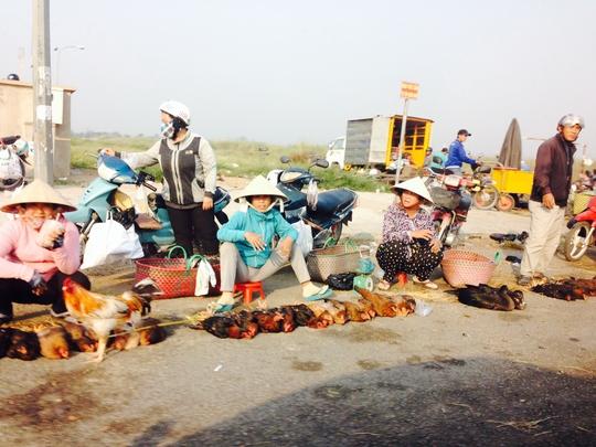 Gà, vịt được bày bán trước cổng chợ Bình Điền