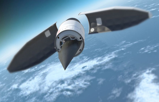 Hình vẽ minh họa một phương tiện tấn công siêu thanh. Ảnh: The Washington Times