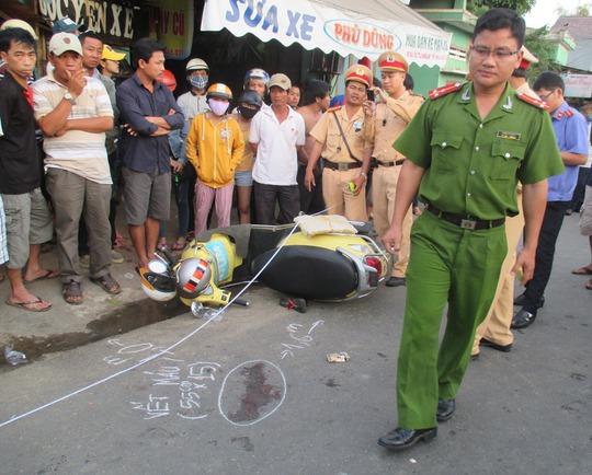 Hiện trường vụ tai nạn làm chị Lê Thị Kim Ngân chết ngay sau đó
