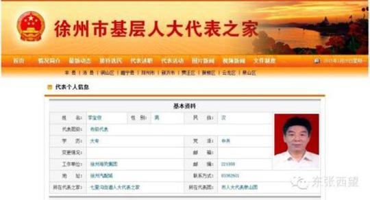 Ông Li Baojun, đại biểu quốc hội của TP Từ Châu, tỉnh Giang Tô. Ành: Shanghaiist