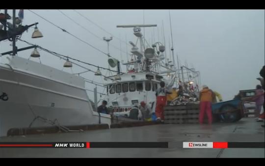 Tàu cá Nhật bị bắt giữ vì vi phạm hạn ngạch đánh bắt quy định. Ảnh: cắt từ clip đài NHK
