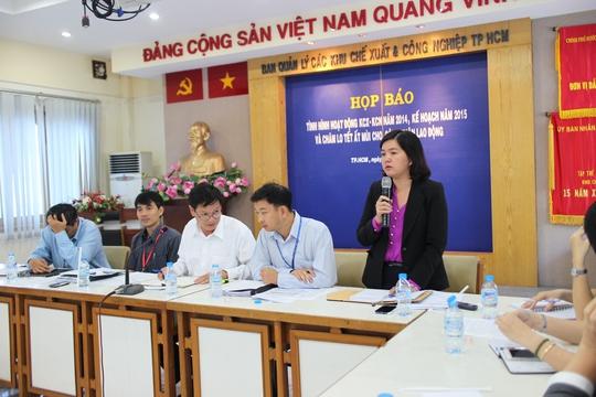 Bà Nguyễn Võ Minh Thư, Trưởng phòng Lao động các KCX-KCN TP HCM, cho biết có 15 doanh nghiệp có khả năng không thưởng Tết cho công nhân