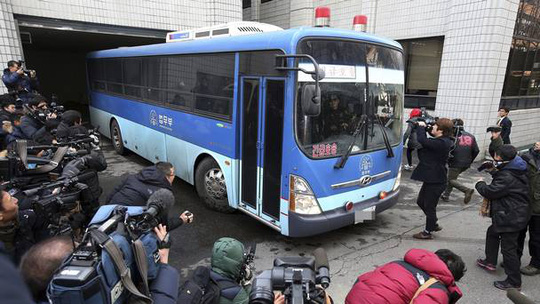 A bus carrying Cho Hyun-ah arrives for her trial at the Seoul Western District Court in South Korea (AP/Yonhap)