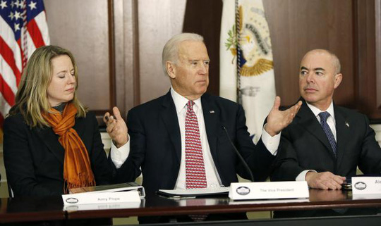 United States Vice President Joe Biden (C) delivers remarks while attending a roundtable on countering violent extremism at the White House in Washington February 17, 2015. REUTERS-Gary Cameron