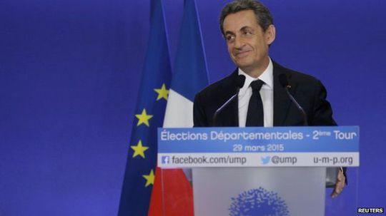 Nicolas Sarkozy, conservative UMP political party leader and former French president, attends a news conference after the close of polls in Frances second round Departmental elections