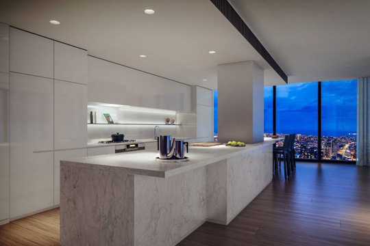 The kitchen inside the penthouse in Australia 108.