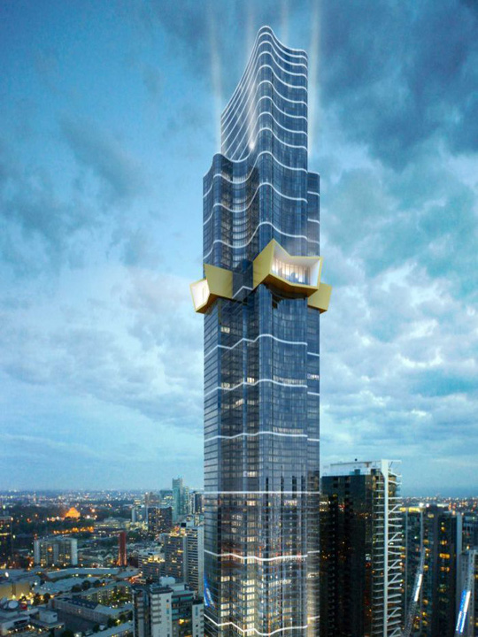 An artists impression of the 319 metre tall Australia 108 building, approved for construction in Southbank.