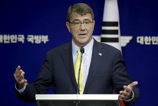 U.S. Defense Secretary Ash Carter answers reporters question during a joint news conference with his South Korean counterpart Han Min Koo at the Defense Ministry in Seoul, South Korea, Friday, April 10, 2015. REUTERS/Lee Jin-man