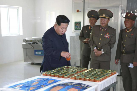 North Korean leader Kim Jong Un gives field guidance at the 810 army unit's Salmon farms in this undated photo released by North Koreas Korean Central News Agency (KCNA) in Pyongyang. REUTERS/KCNA