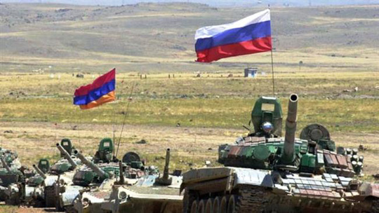 The file photo shows Armenian and Russian forces during a joint drill.