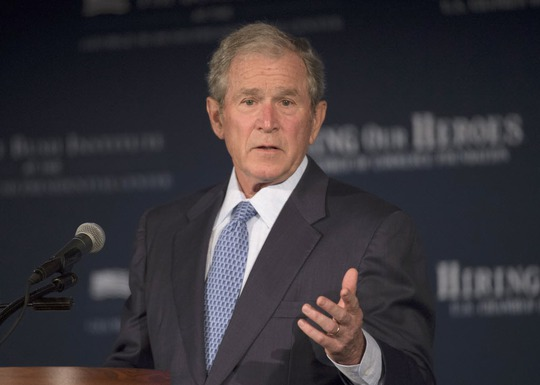 Former President George W. Bush speaks at the U.S. Chamber of Commerce Foundations Hiring Our Heroes program and the George W. Bush Institutes Military Service Initiative national summit, Wednesday, June 24, 2015, at the U.S. Chamber of Commerce in Washington. (Molly Riley/AP)