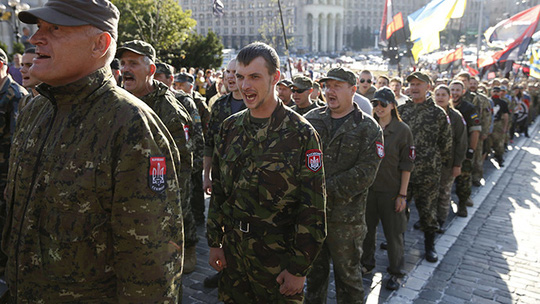 Members of the far-right radical group Right Sector. (Reuters / Valentyn Ogirenko)