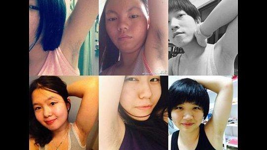 Những phụ nữ đăng ảnh khoe lông nách của họ trên trang mạng cá nhân. Ảnh: Weibo