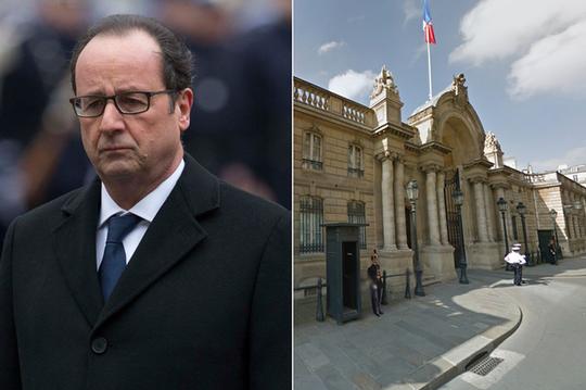 Một người chạy xe máy cố tình làm bị thương một nữ cảnh sát bên ngoài dinh thự của Tổng thống Pháp Francois Hollande (trái). Ảnh: Daily Record