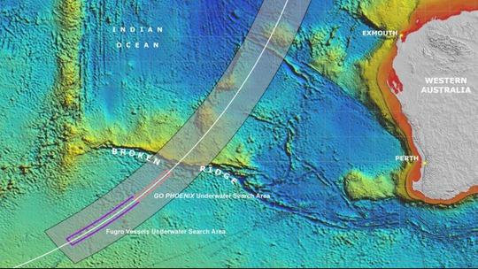 Phạm vi tìm kiếm của công ty Fugro và các công ty nghiên cứu quốc tế khác ở vùng biển Ấn Độ Dương.  Ảnh: ATSB