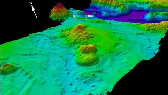 Mô hình mô phỏng 3D một phần đáy biển Ấn Độ Dương trong phạm vi tìm kiếm MH370. Ảnh: Geoscience Australia