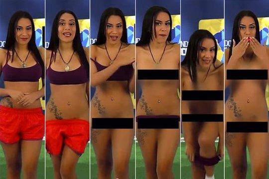 """Giữ lời hứa, MC truyền hình xinh đẹp khỏa thân """"tặng"""" đội Venezuela"""