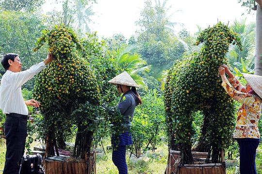 Nghệ nhân đang chăm sóc cho hai chú dê kiểng để chuẩn bị đưa ra trưng  bày tại hội chợ Hoa Xuân Bình Điền