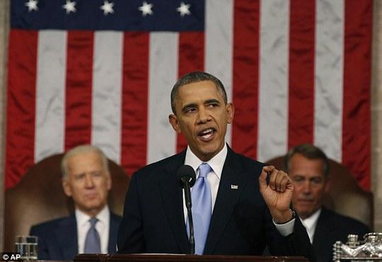 Tổng thống Obama phát biểu Thông điệp Liên bang trước quốc hội Mỹ tối 20-1. Ảnh: AP