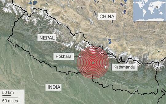 Khu vực xảy ra động đất. Nguồn: BBC