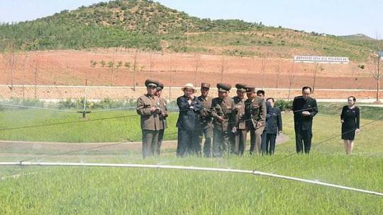 Lãnh đạo Triều Tiên Kim Jong-un đang hướng dẫn tại một khu vực trồng lương thực của quân đội. Ảnh: Reuters