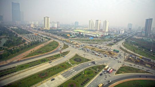 Ảnh chụp nút giao thông tại điểm đầu Đại lộ Thăng Long, Hà Nội