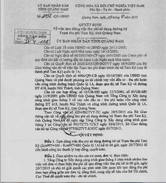 Quyết định của UBND tỉnh Quảng Nam cho biết Trạm thu phí Tam Kỳ sẽ dừng thu từ 0 giờ ngày 20-7