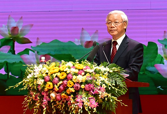 Tổng Bí thư Nguyễn Phú Trọng nhấn mạnh mỗi chúng ta hãy thường xuyên noi gương Bác. Ảnh: VGP